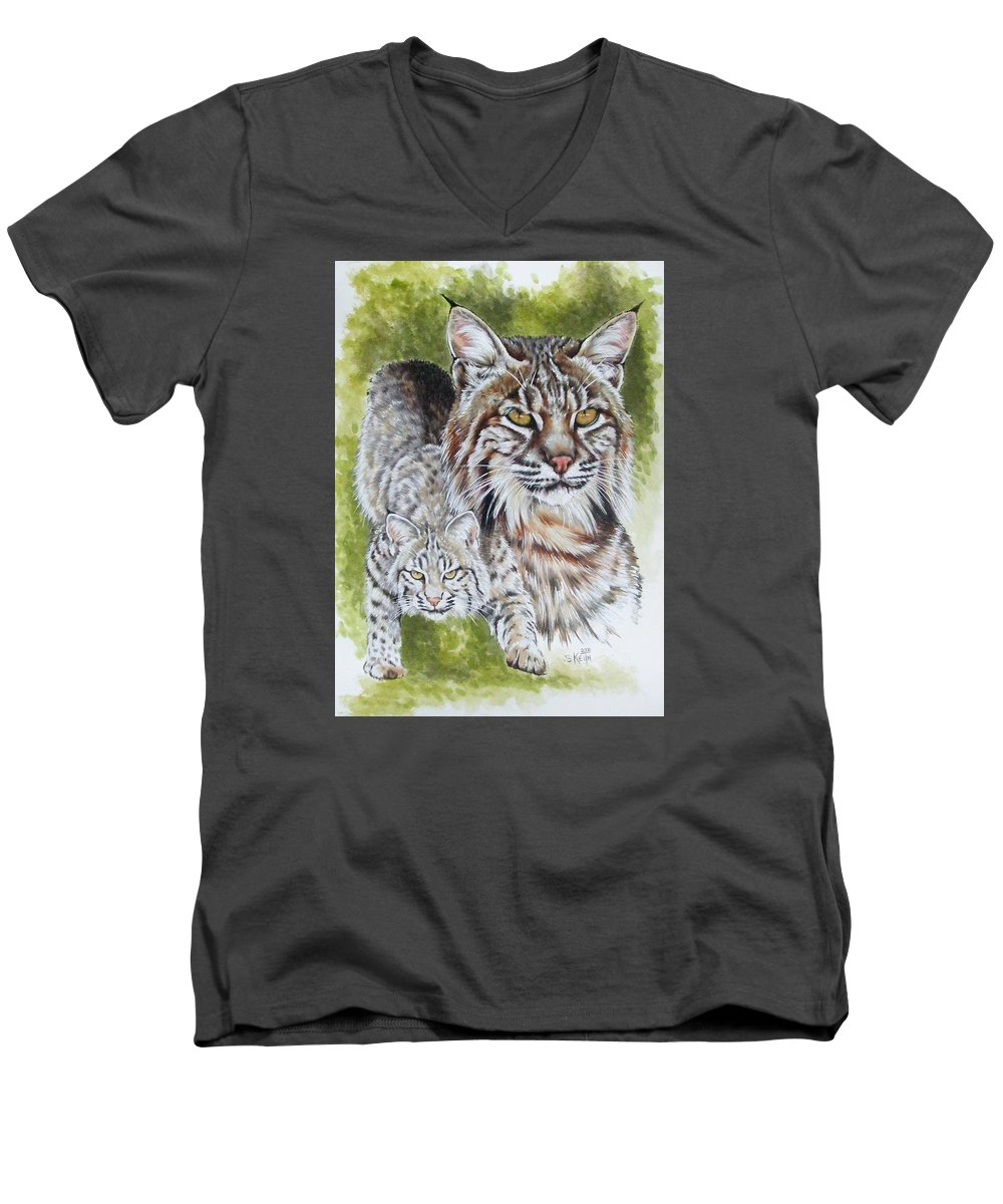 Small Cat Men's V-Neck T-Shirt featuring the mixed media Brassy by Barbara Keith