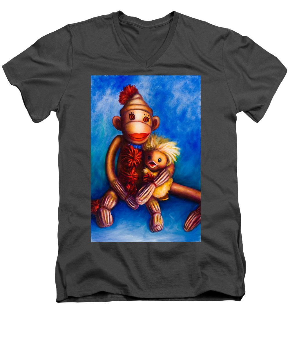 Sock Monkeys Brown Men's V-Neck T-Shirt featuring the painting Buddies by Shannon Grissom