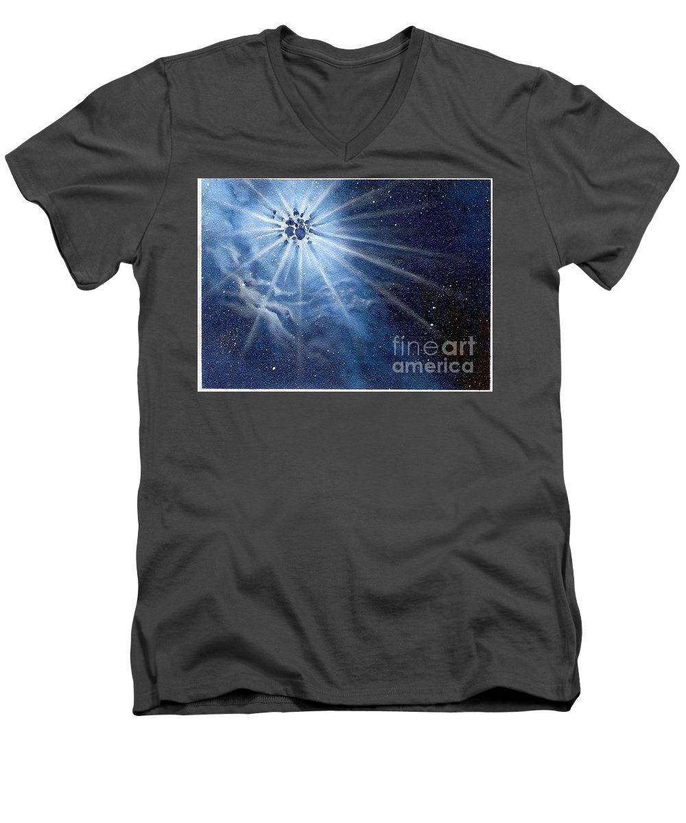 Outerspace Men's V-Neck T-Shirt featuring the painting Burst Of Light by Murphy Elliott