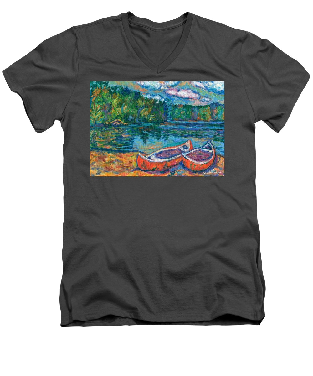 Landscape Men's V-Neck T-Shirt featuring the painting Canoes At Mountain Lake Sketch by Kendall Kessler