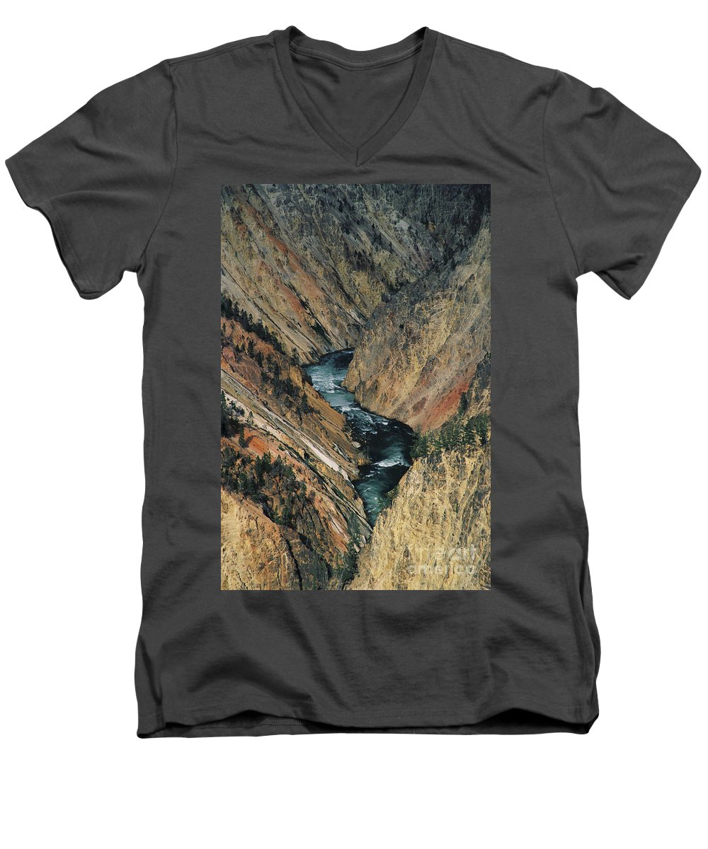 Yellowstone Men's V-Neck T-Shirt featuring the photograph Canyon Jewel by Kathy McClure