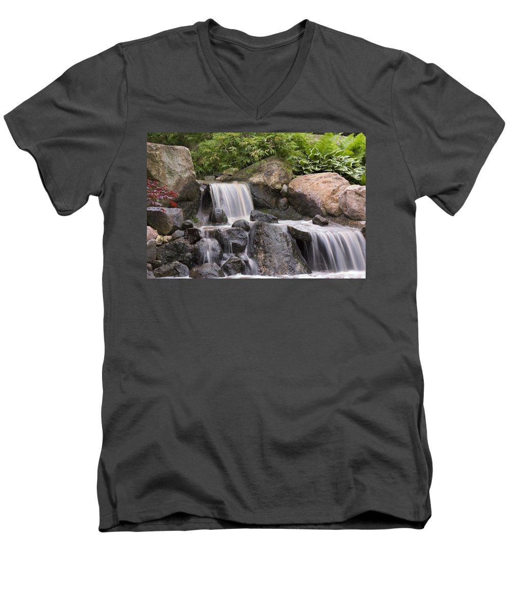 3scape Men's V-Neck T-Shirt featuring the photograph Cascade Waterfall by Adam Romanowicz