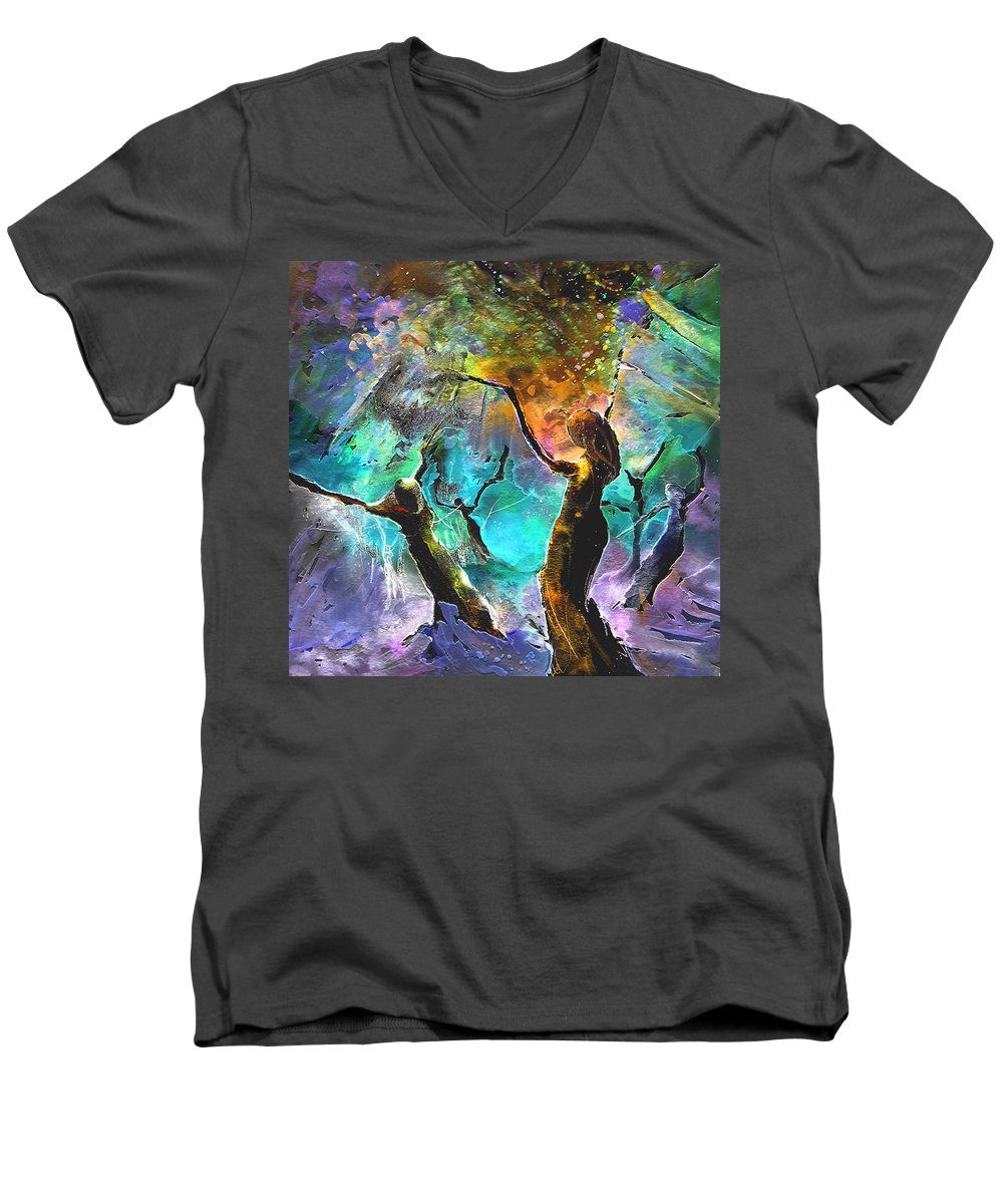 Miki Men's V-Neck T-Shirt featuring the painting Celebration Of Life by Miki De Goodaboom