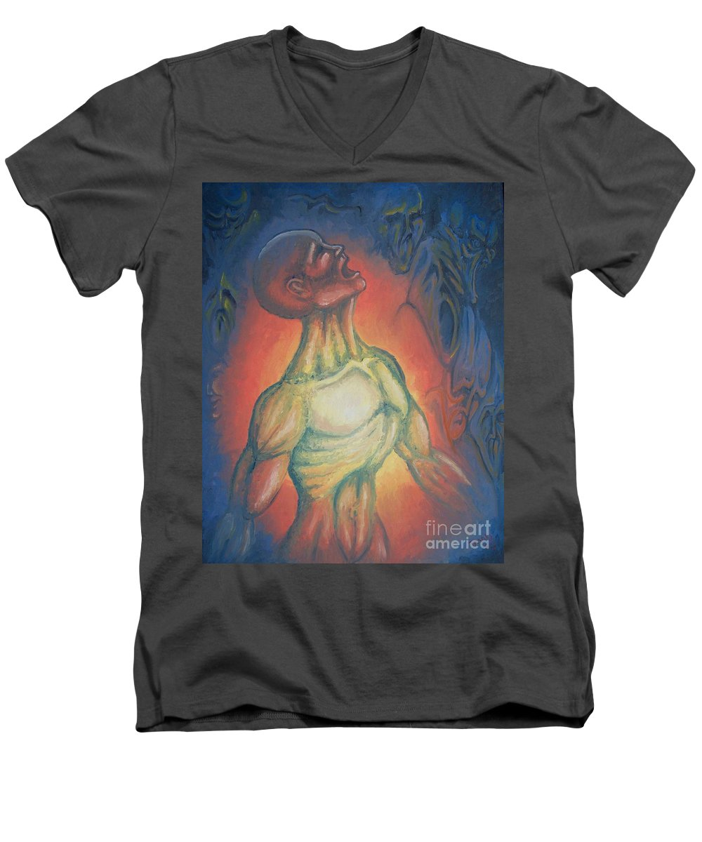Tmad Men's V-Neck T-Shirt featuring the painting Center Flow by Michael TMAD Finney