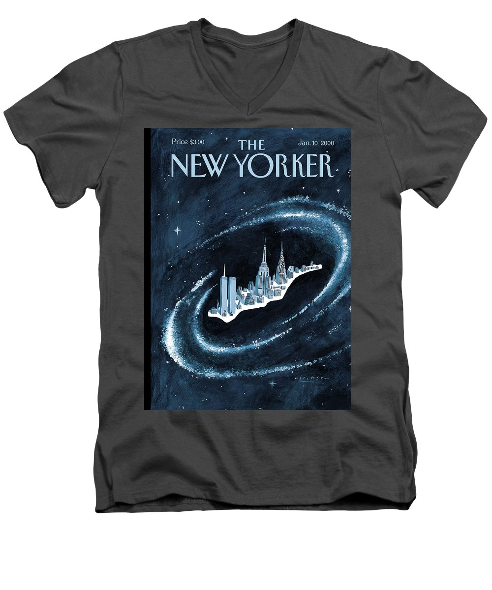 Center Of The Universe New York Manhattan Empire State Building Twin Towers Twintowers World Trade Center Wtc Chrysler Building Space Universe Milky Way Stars Outer Galaxy Cosmos Cosmic  Mark Ulriksen Mul Mul Artkey 51151 Men's V-Neck T-Shirt featuring the painting Center Of The Universe by Mark Ulriksen