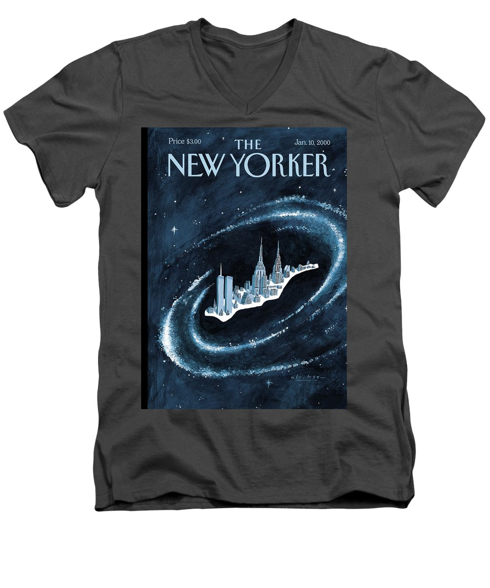Center Men's V-Neck T-Shirt featuring the painting Center Of The Universe by Mark Ulriksen