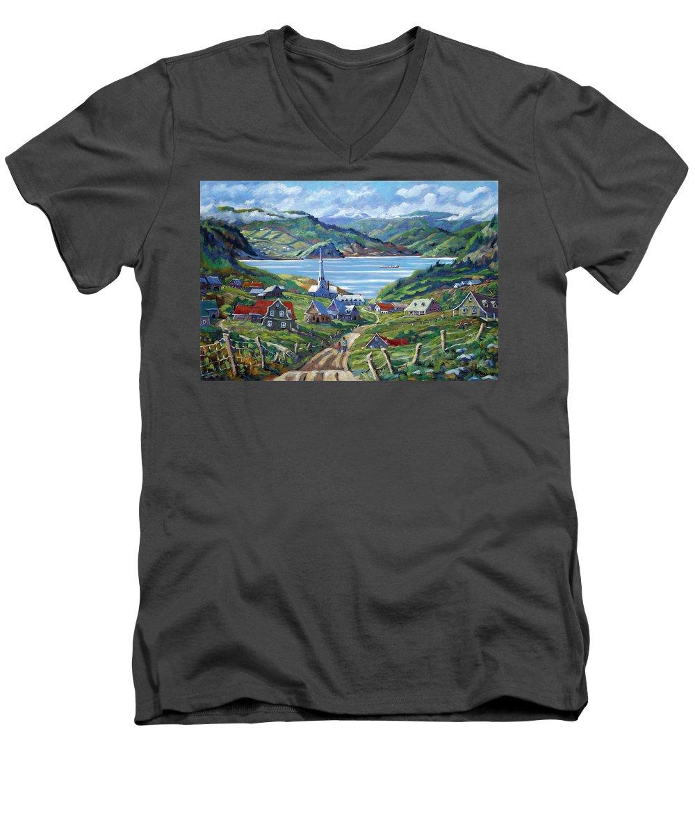 Men's V-Neck T-Shirt featuring the painting Charlevoix Scene by Richard T Pranke