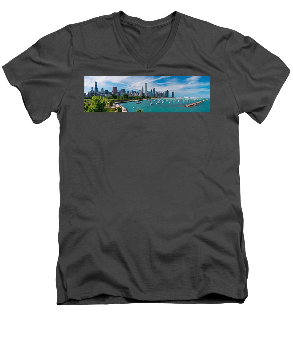 3scape Men's V-Neck T-Shirt featuring the photograph Chicago Skyline Daytime Panoramic by Adam Romanowicz
