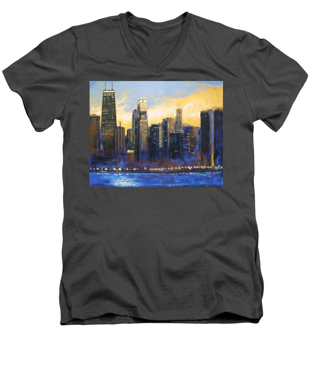 Chicago Skyline Men's V-Neck T-Shirt featuring the painting Chicago Sunset Looking South by Joseph Catanzaro