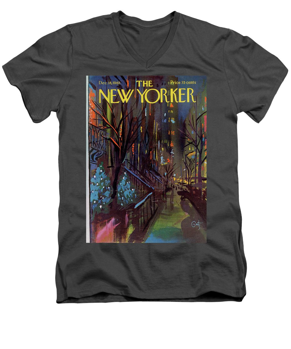 Christmas Xmas Holiday Urban City Manhattan New York City Tree Decoration Decorations Arthur Getz Agt Sumnerok Artkey 49880 Topgetz Men's V-Neck T-Shirt featuring the painting Christmas In New York by Arthur Getz