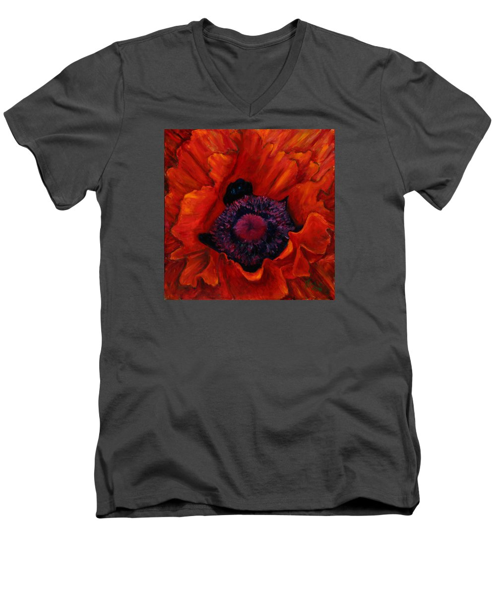 Red Poppy Men's V-Neck T-Shirt featuring the painting Close Up Poppy by Billie Colson