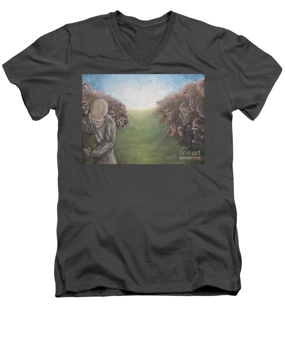 Tmad Men's V-Neck T-Shirt featuring the painting Closure by Michael TMAD Finney