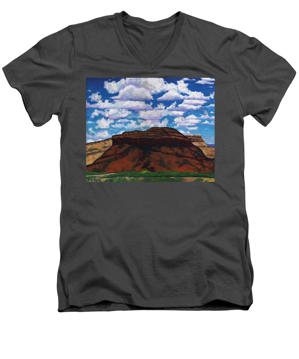 Lanscape Men's V-Neck T-Shirt featuring the painting Clouds Over Red Mesa by Joe Triano