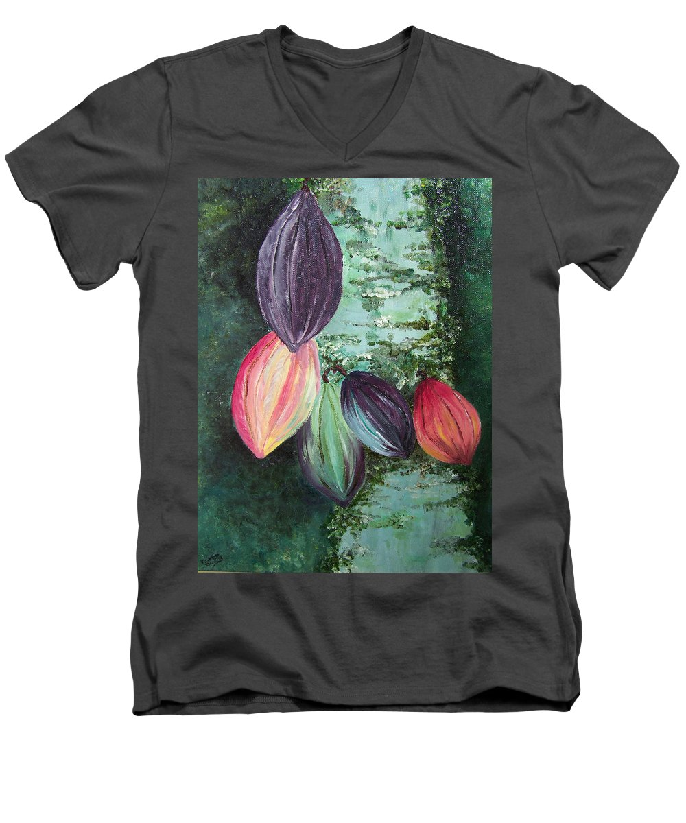 Cocoa On The Tree Men's V-Neck T-Shirt featuring the painting Cocoa Pods by Karin Dawn Kelshall- Best