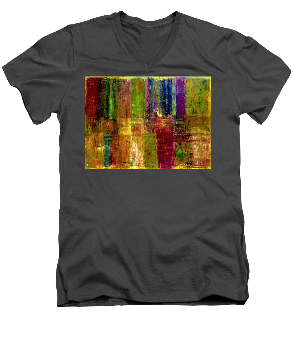 Abstract Men's V-Neck T-Shirt featuring the painting Color Panel Abstract by Michelle Calkins