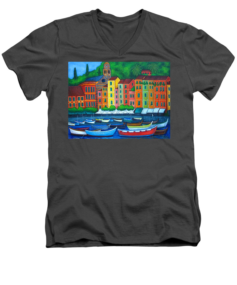 Portofino Men's V-Neck T-Shirt featuring the painting Colours Of Portofino by Lisa Lorenz