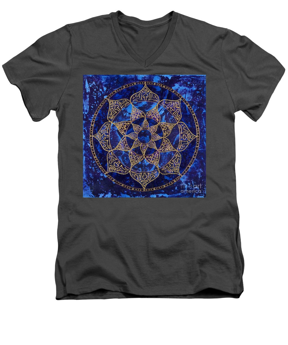 Mandala Men's V-Neck T-Shirt featuring the painting Cosmic Blue Lotus by Charlotte Backman