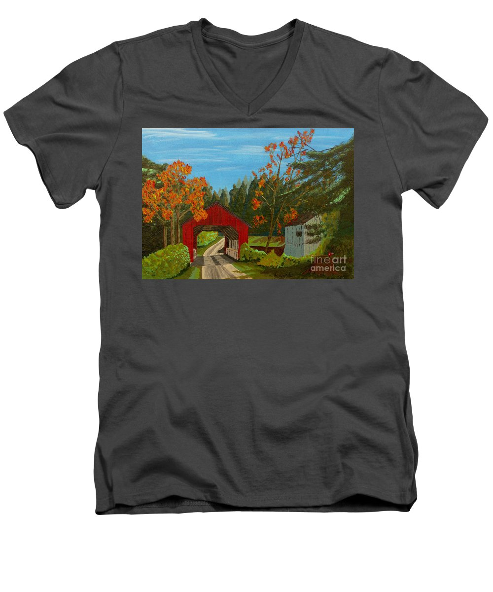 Path Men's V-Neck T-Shirt featuring the painting Covered Bridge by Anthony Dunphy