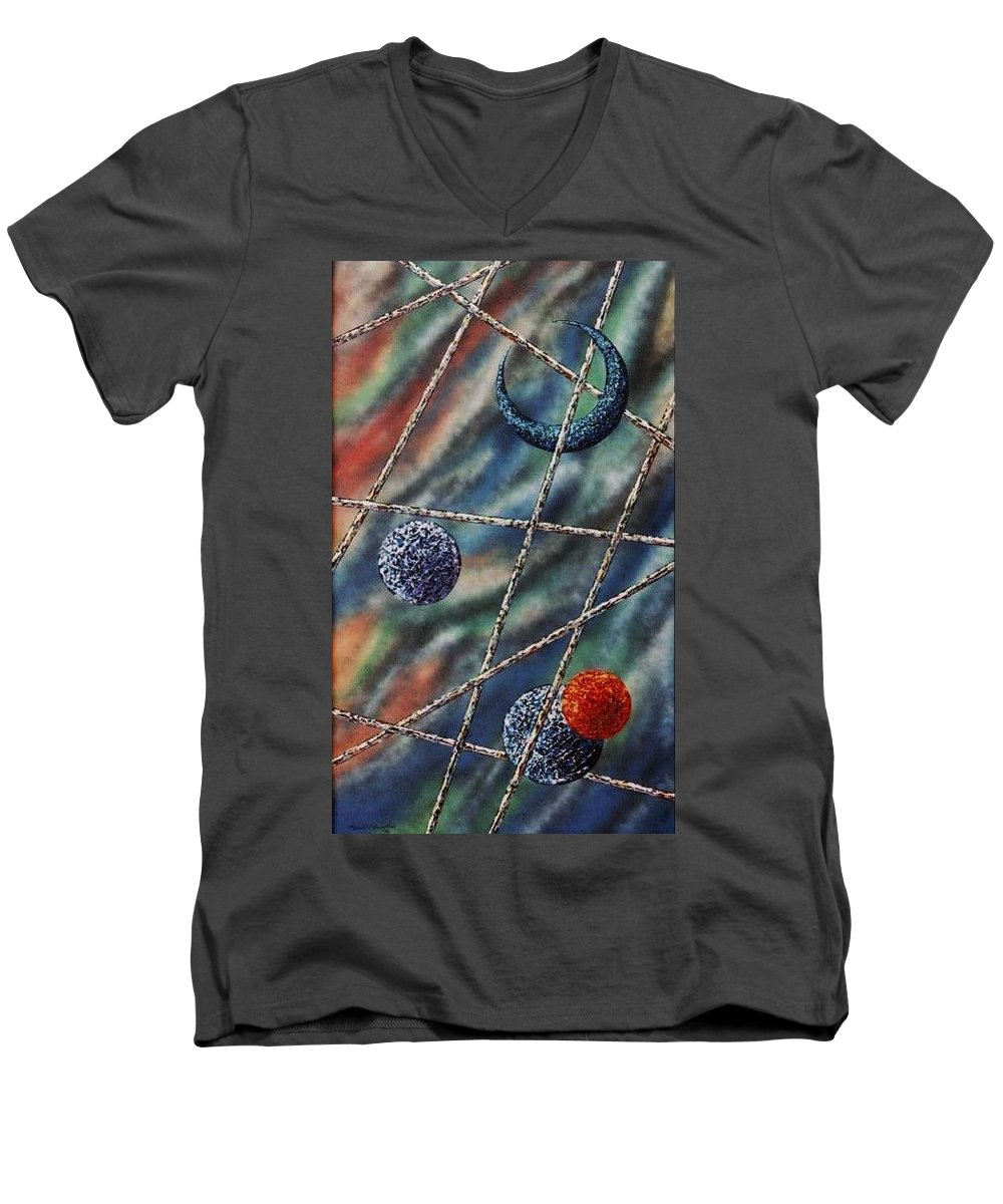 Abstract Men's V-Neck T-Shirt featuring the painting Crescent by Micah Guenther