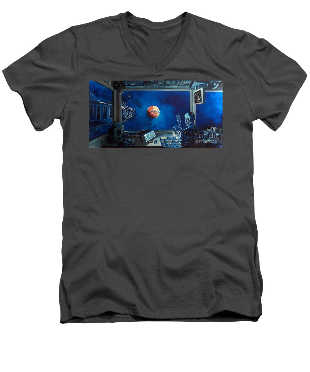 Fantasy Men's V-Neck T-Shirt featuring the painting Crying Robot by Murphy Elliott