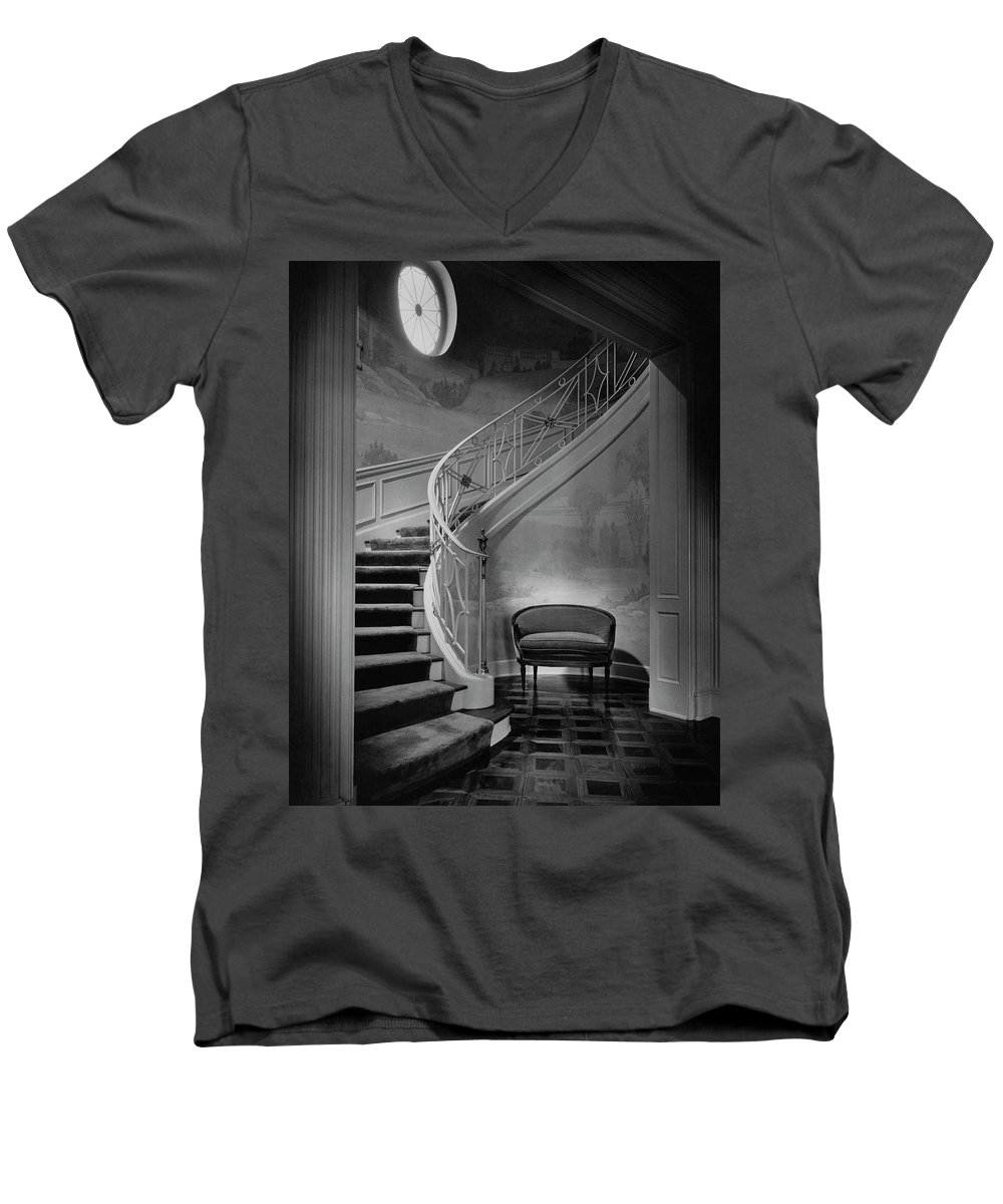 Interior Men's V-Neck T-Shirt featuring the photograph Curving Staircase In The Home Of W. E. Sheppard by Maynard Parker