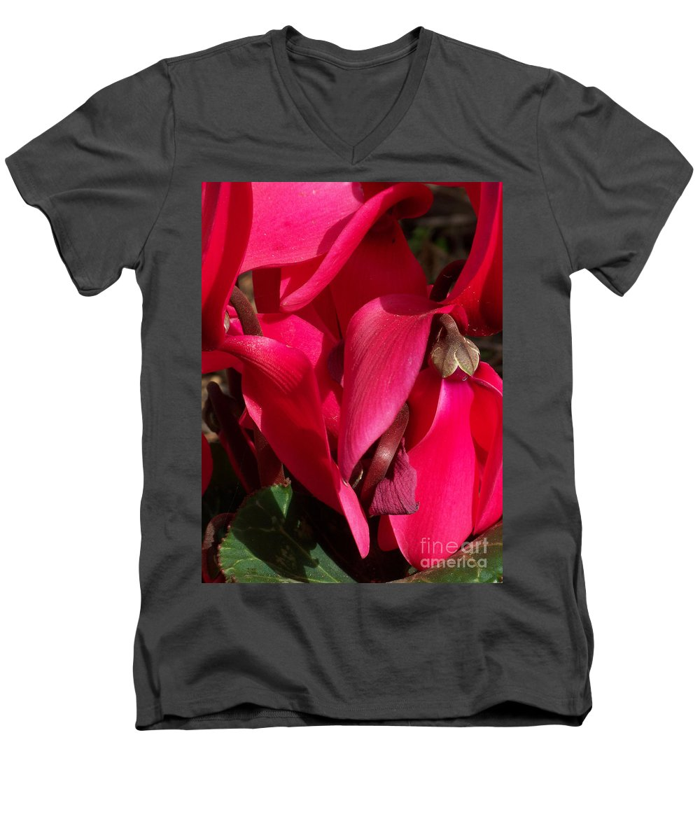 Flowers Men's V-Neck T-Shirt featuring the photograph Cyclamen by Kathy McClure