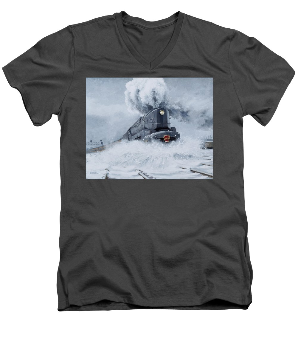 Trains Men's V-Neck T-Shirt featuring the painting Dashing Through The Snow by David Mittner