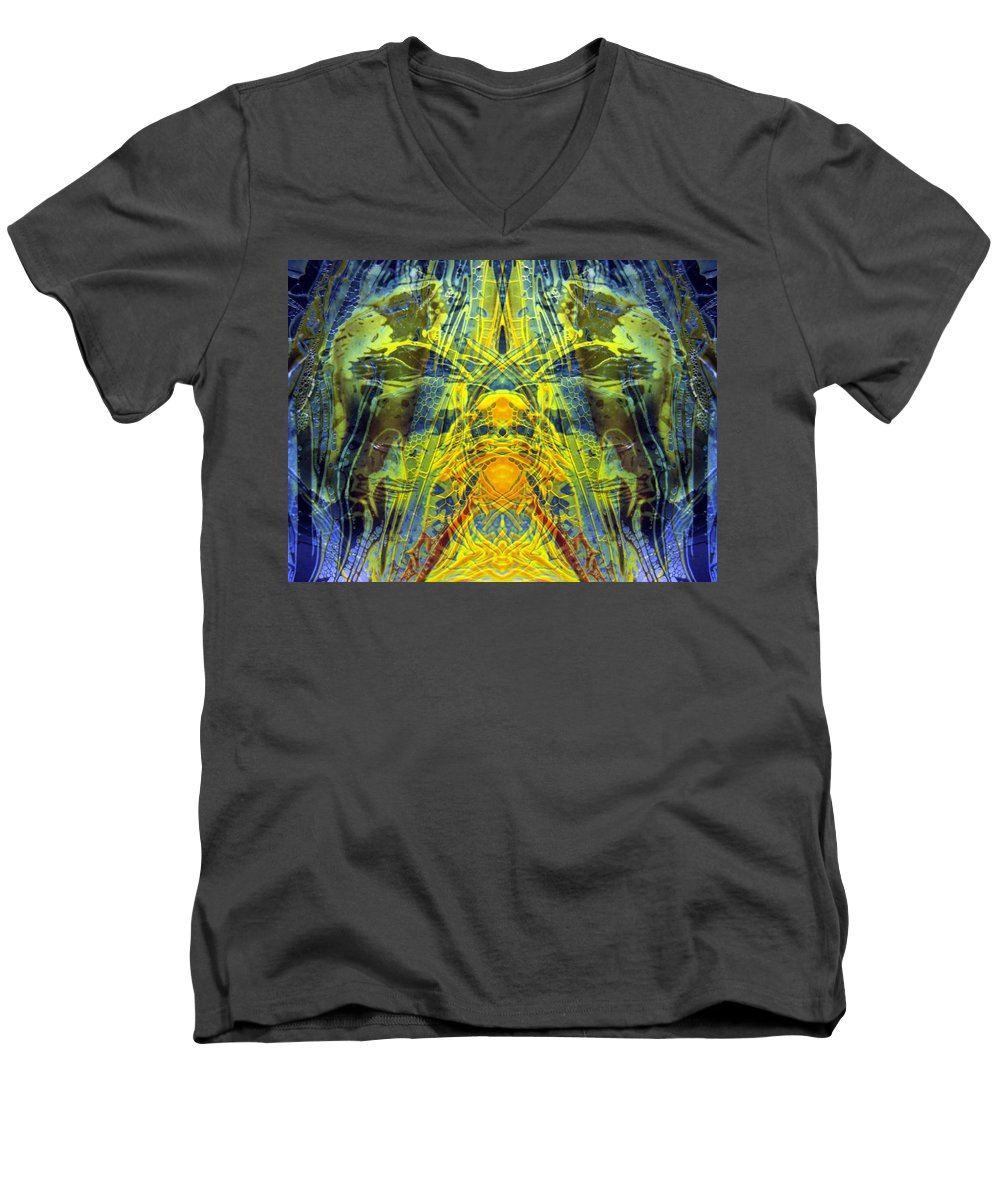 Surrealism Men's V-Neck T-Shirt featuring the digital art Decalcomaniac Intersection 1 by Otto Rapp