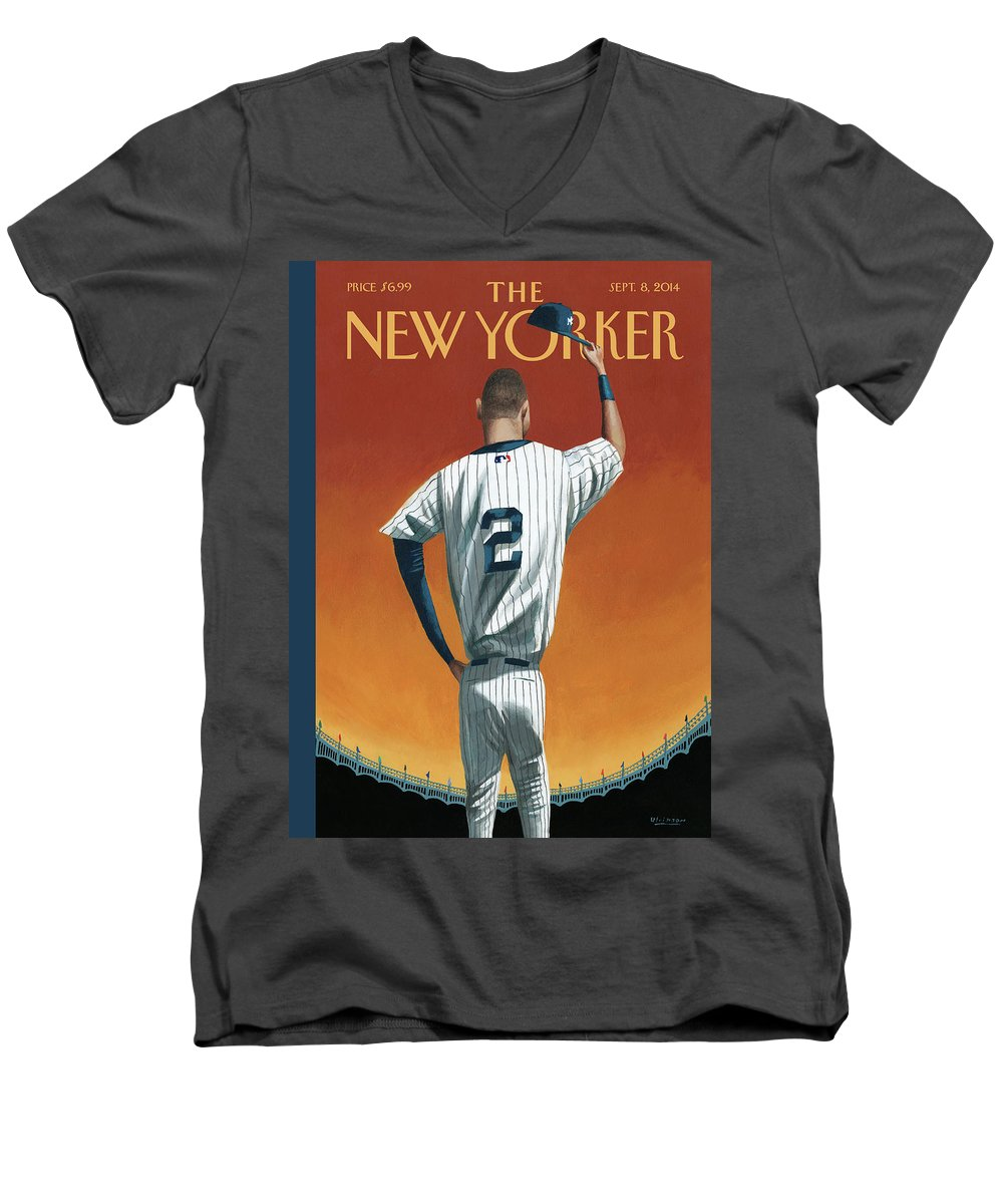 Retirement Men's V-Neck T-Shirt featuring the painting Derek Jeter Bows Out by Mark Ulriksen