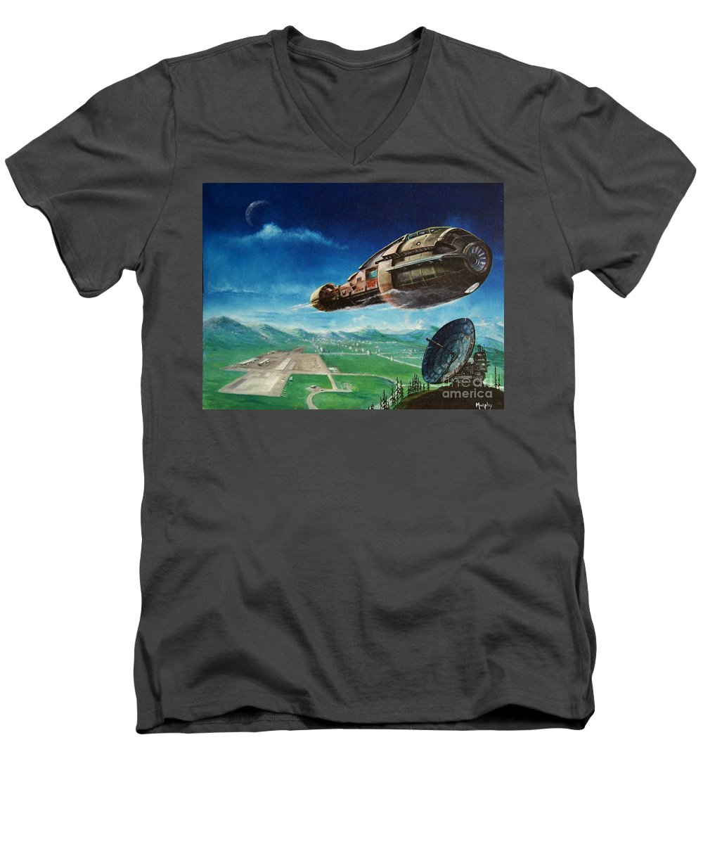 Landscape Men's V-Neck T-Shirt featuring the painting Did You Call by Murphy Elliott