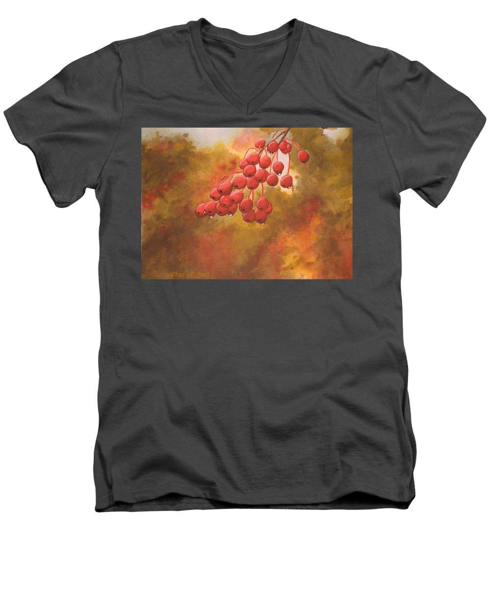 Rick Huotari Men's V-Neck T-Shirt featuring the painting Door County Cherries by Rick Huotari