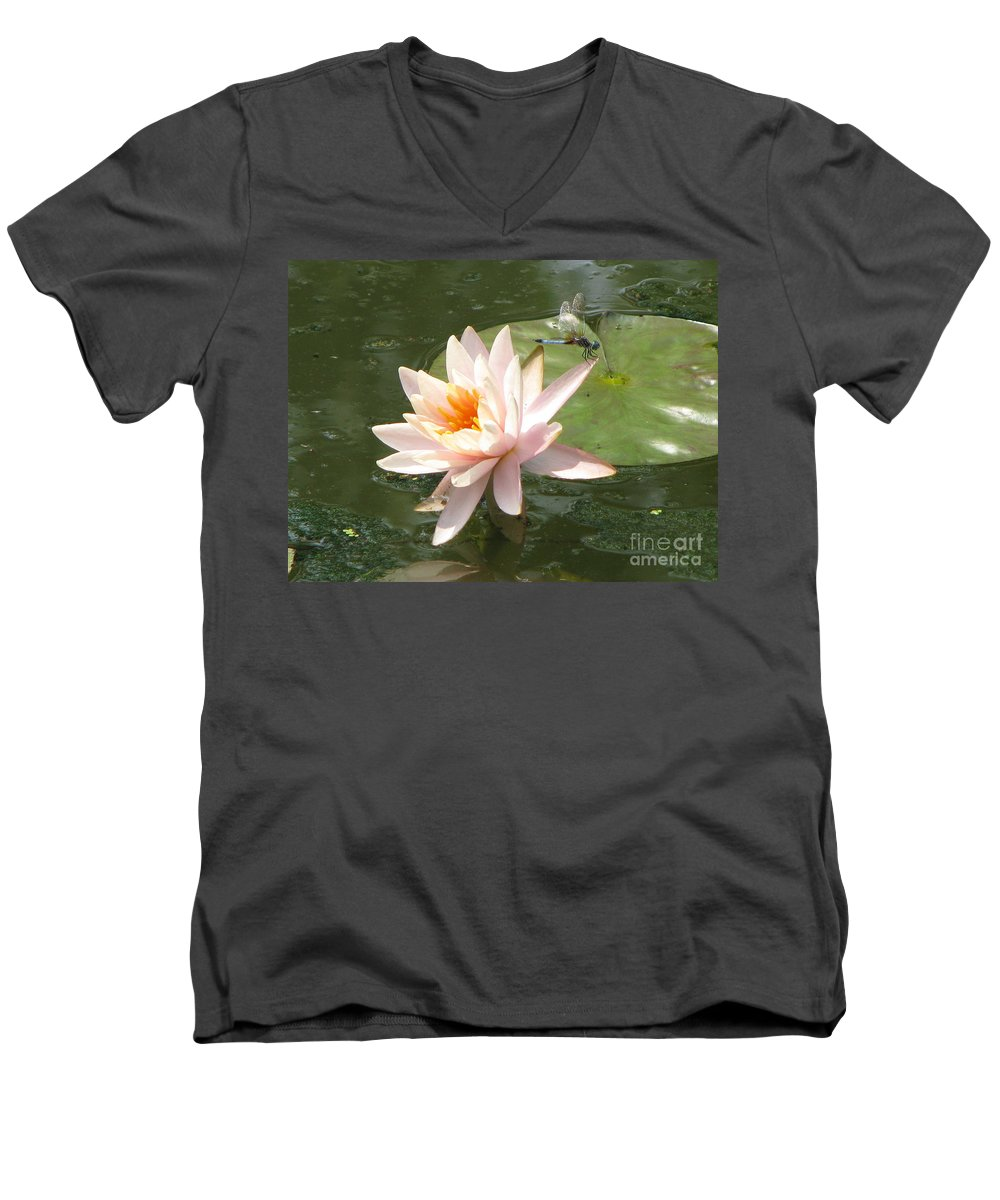 Dragon Fly Men's V-Neck T-Shirt featuring the photograph Dragonfly Landing by Amanda Barcon