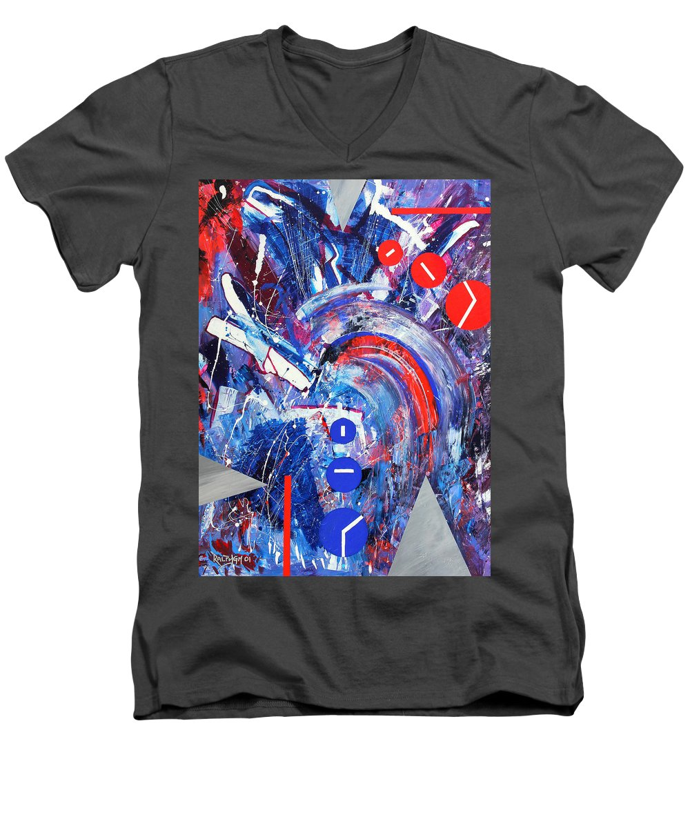 Abstract Men's V-Neck T-Shirt featuring the painting Dream Run 2001 by RalphGM