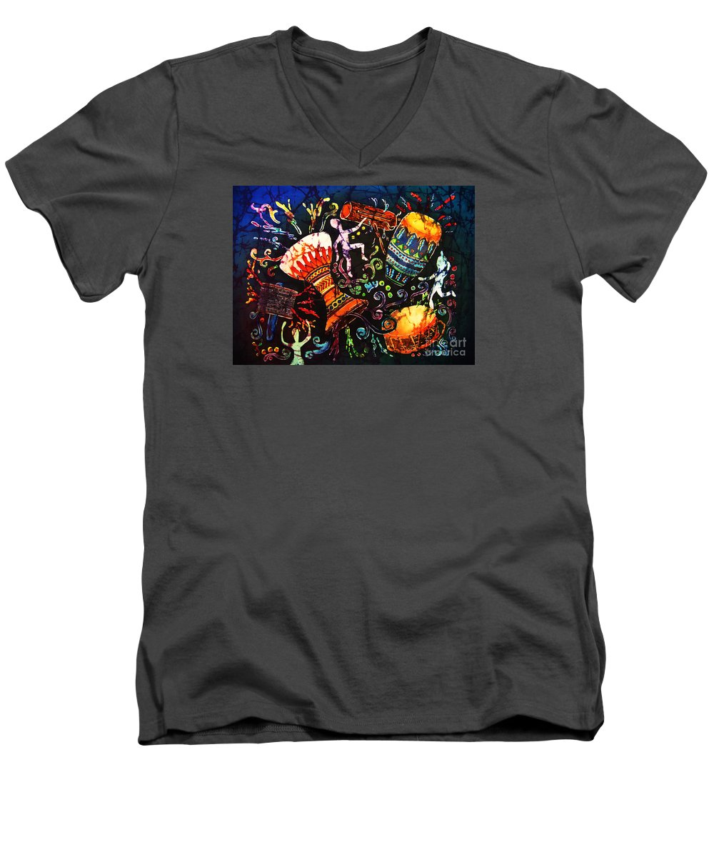 Drums Men's V-Neck T-Shirt featuring the painting Drumbeat by Sue Duda