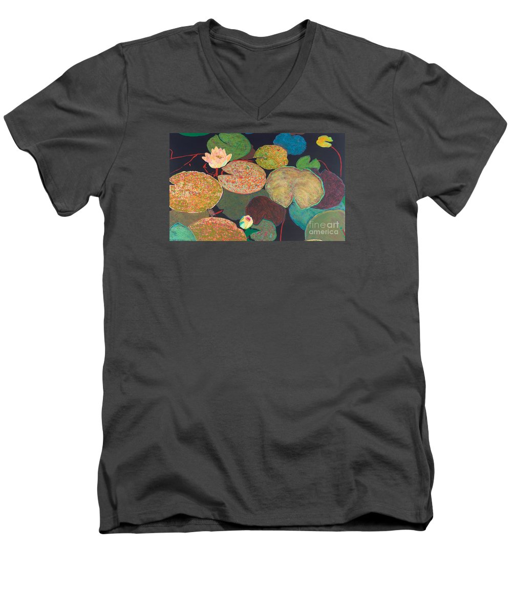 Landscape Men's V-Neck T-Shirt featuring the painting Early Mist by Allan P Friedlander