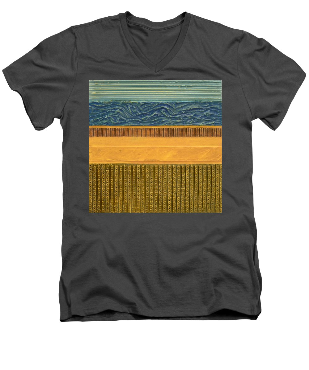 Abstract Men's V-Neck T-Shirt featuring the painting Earth Layers Abstract L by Michelle Calkins