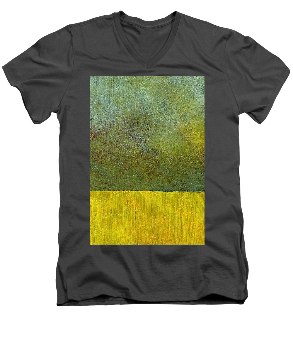 Abstract Landscape Men's V-Neck T-Shirt featuring the painting Earth Study Two by Michelle Calkins