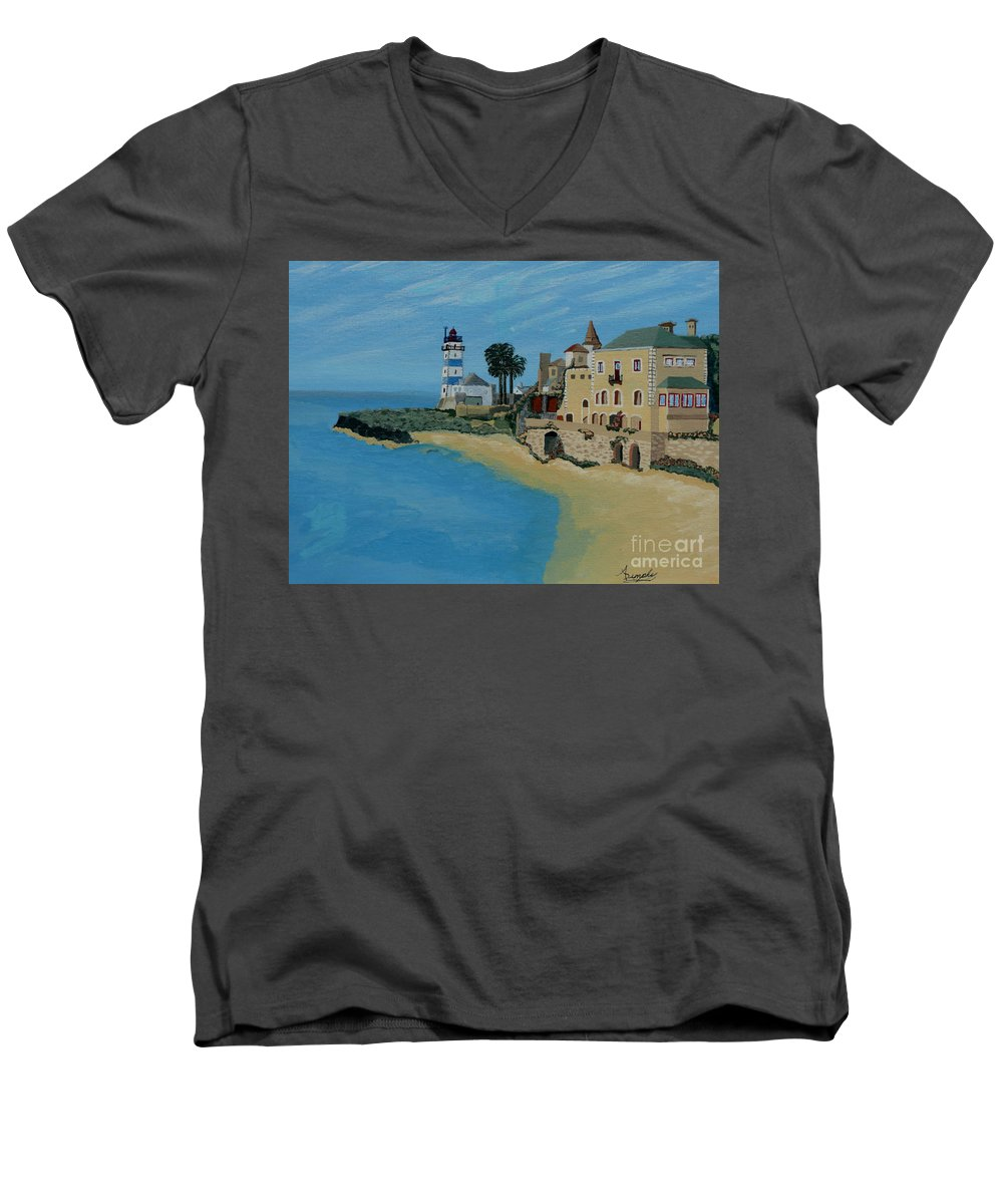 Lighthouse Men's V-Neck T-Shirt featuring the painting European Lighthouse by Anthony Dunphy