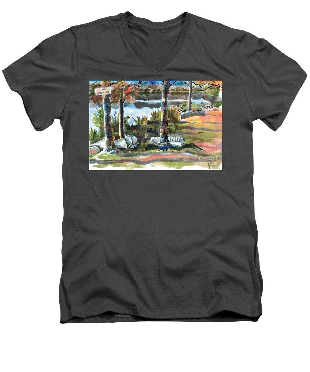 Evening Shadows At Shepherd Mountain Lake No W101 Men's V-Neck T-Shirt featuring the painting Evening Shadows At Shepherd Mountain Lake No W101 by Kip DeVore