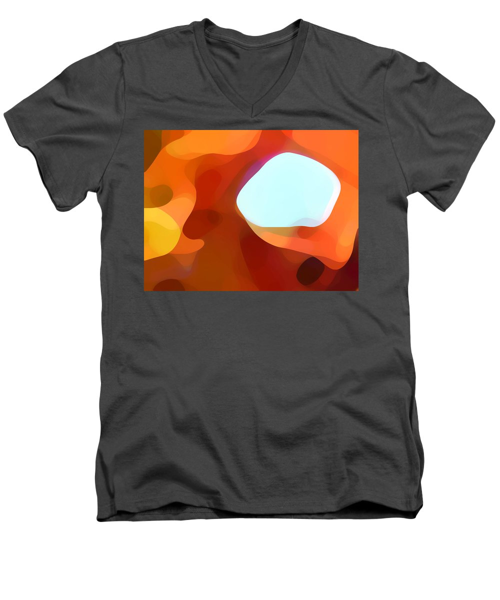Abstract Men's V-Neck T-Shirt featuring the painting Fall Passage by Amy Vangsgard