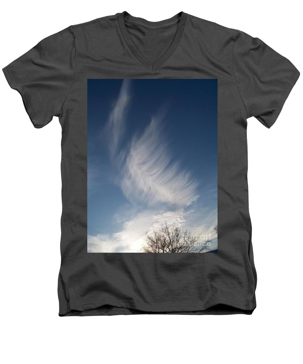 Angel Men's V-Neck T-Shirt featuring the photograph Feather Cloud By Diane Schiabor by Eric Schiabor