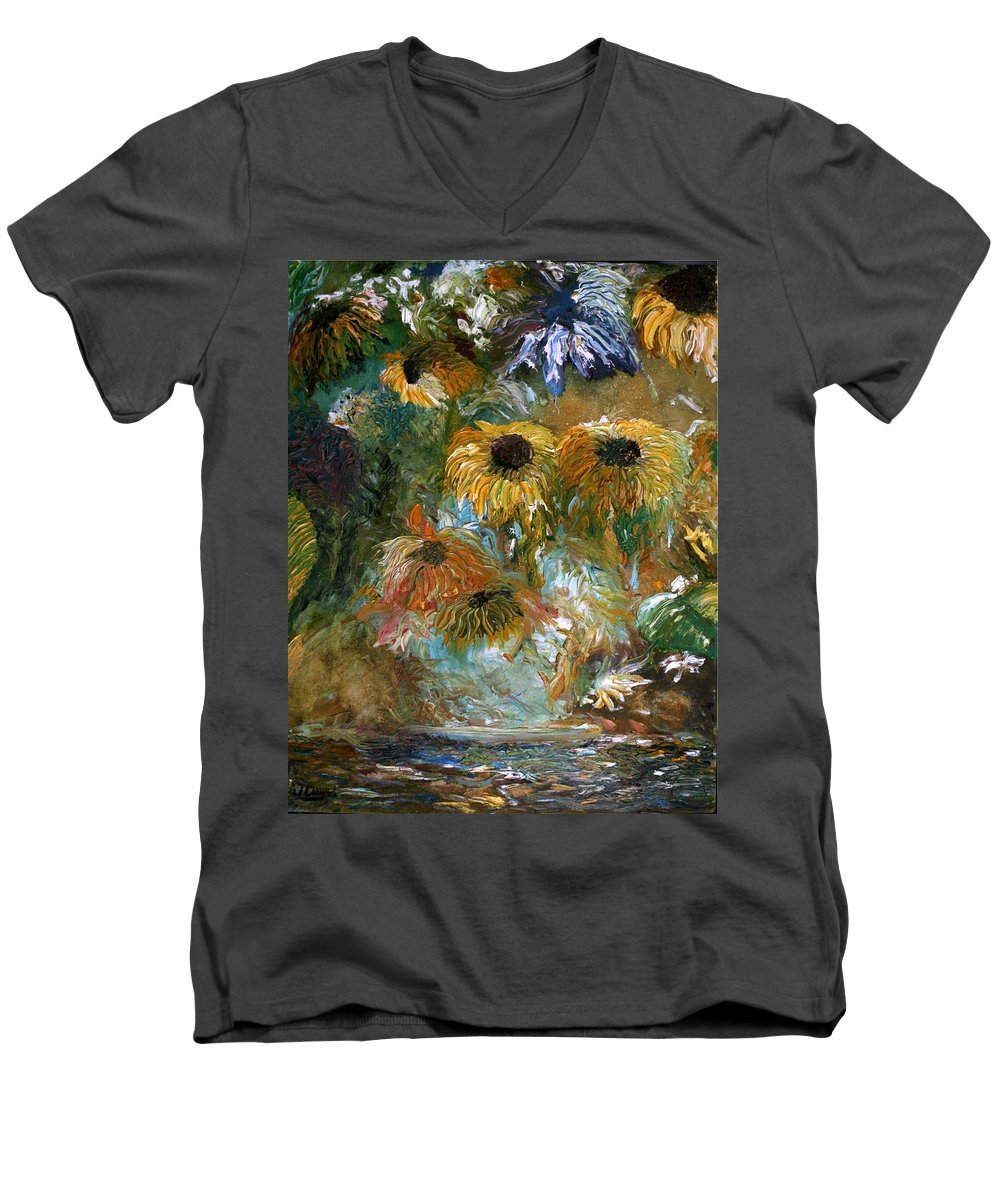 Flowers Men's V-Neck T-Shirt featuring the painting Flower Rain by Jack Diamond