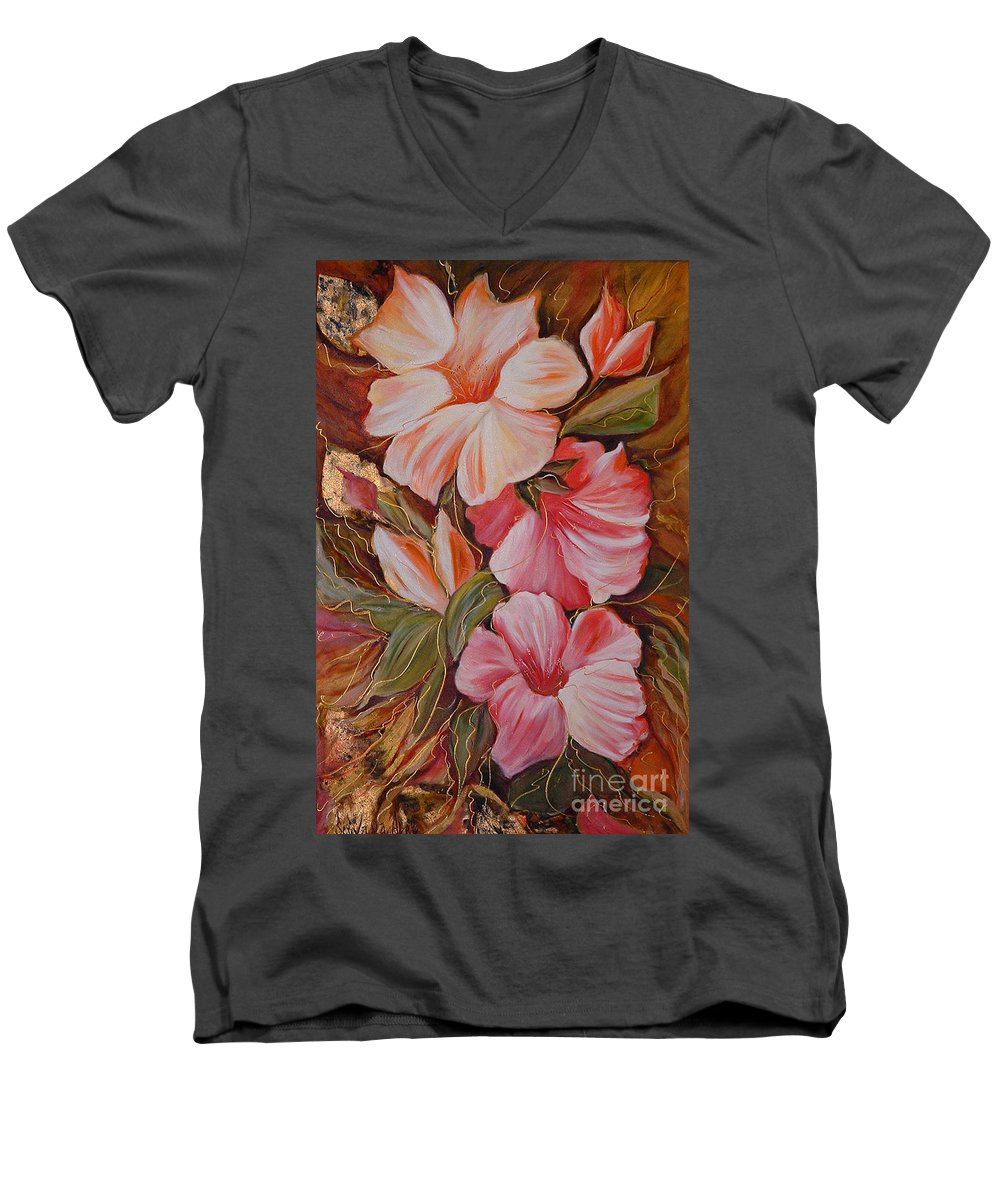 Abstract Men's V-Neck T-Shirt featuring the painting Flowers II by Silvana Abel