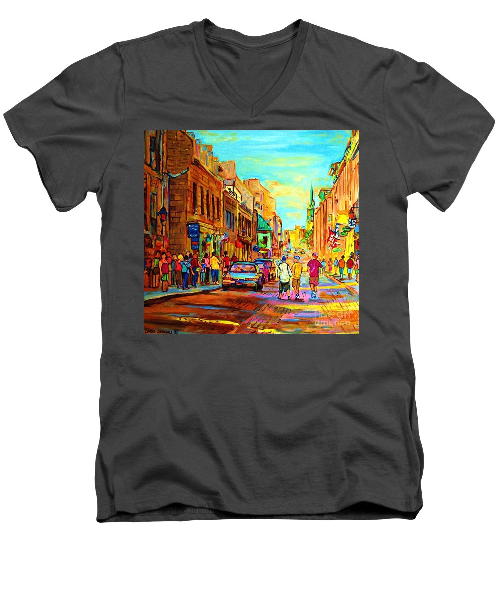 Montreal Men's V-Neck T-Shirt featuring the painting Follow The Yellow Brick Road by Carole Spandau