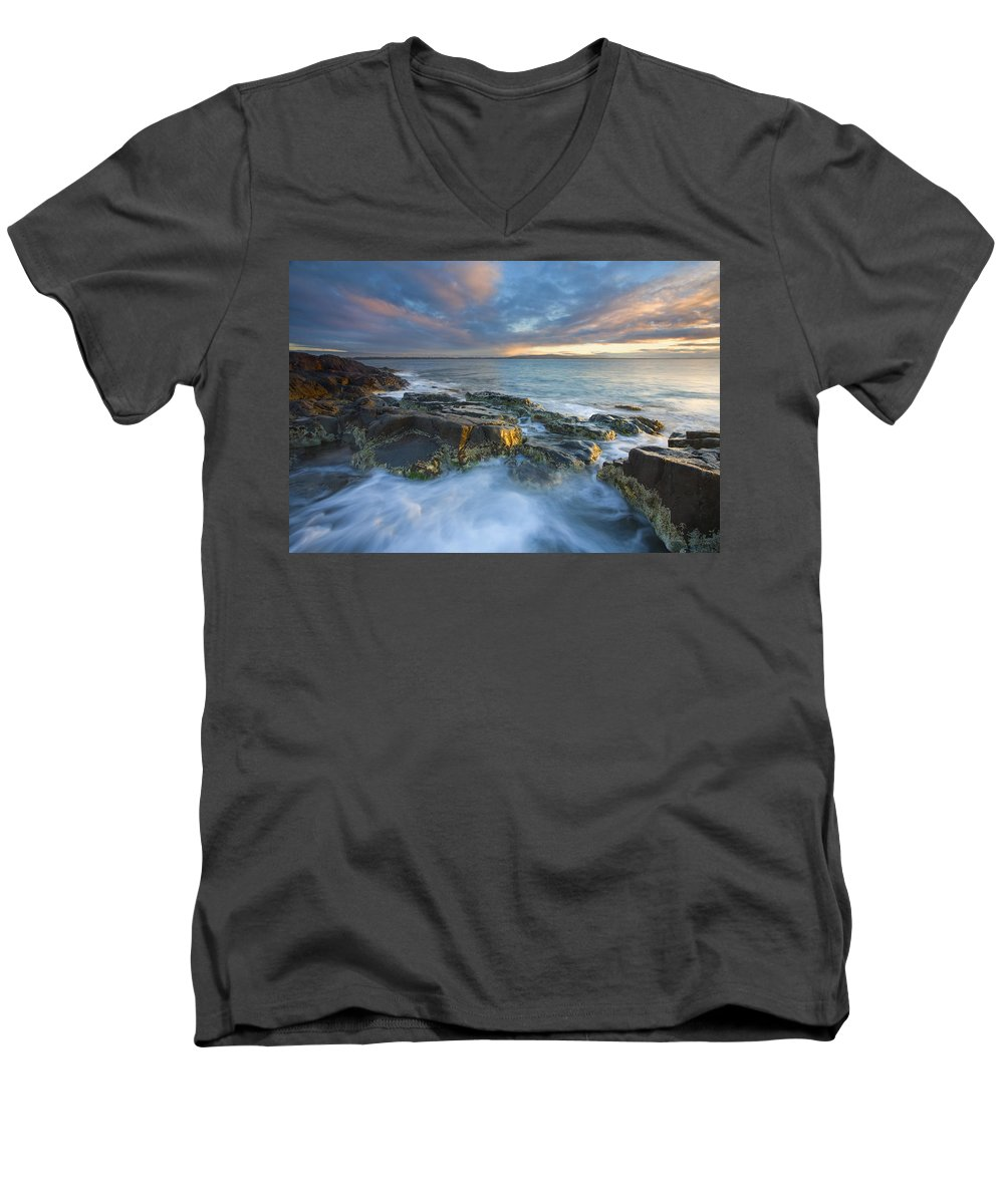 Freycinet Men's V-Neck T-Shirt featuring the photograph Freycinet Cloud Explosion by Mike Dawson