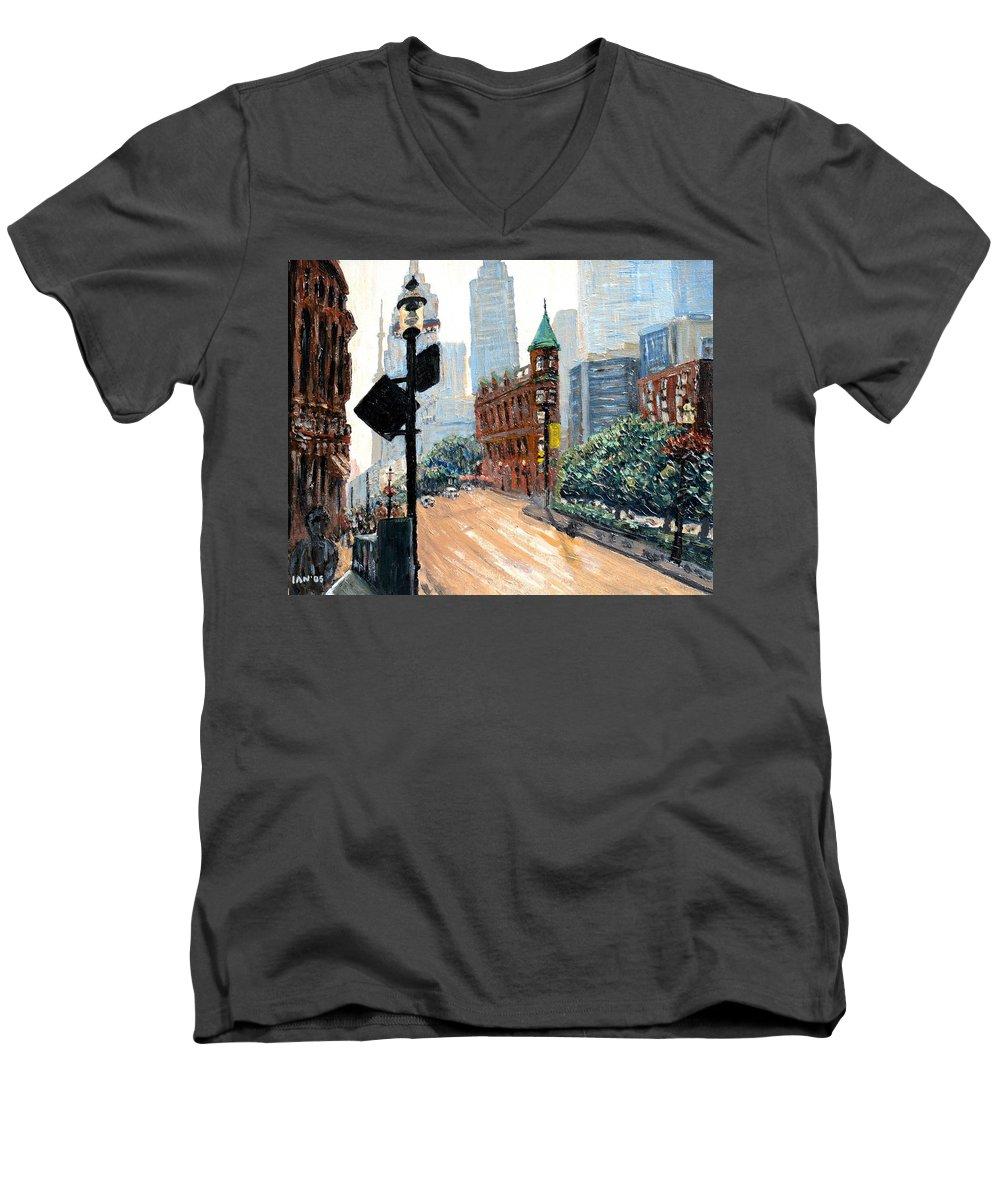Toronto Men's V-Neck T-Shirt featuring the painting Front And Church by Ian MacDonald