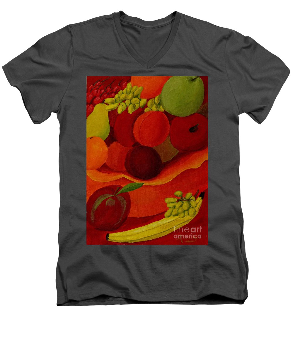 Fruit Men's V-Neck T-Shirt featuring the painting Fruit-still Life by Anthony Dunphy