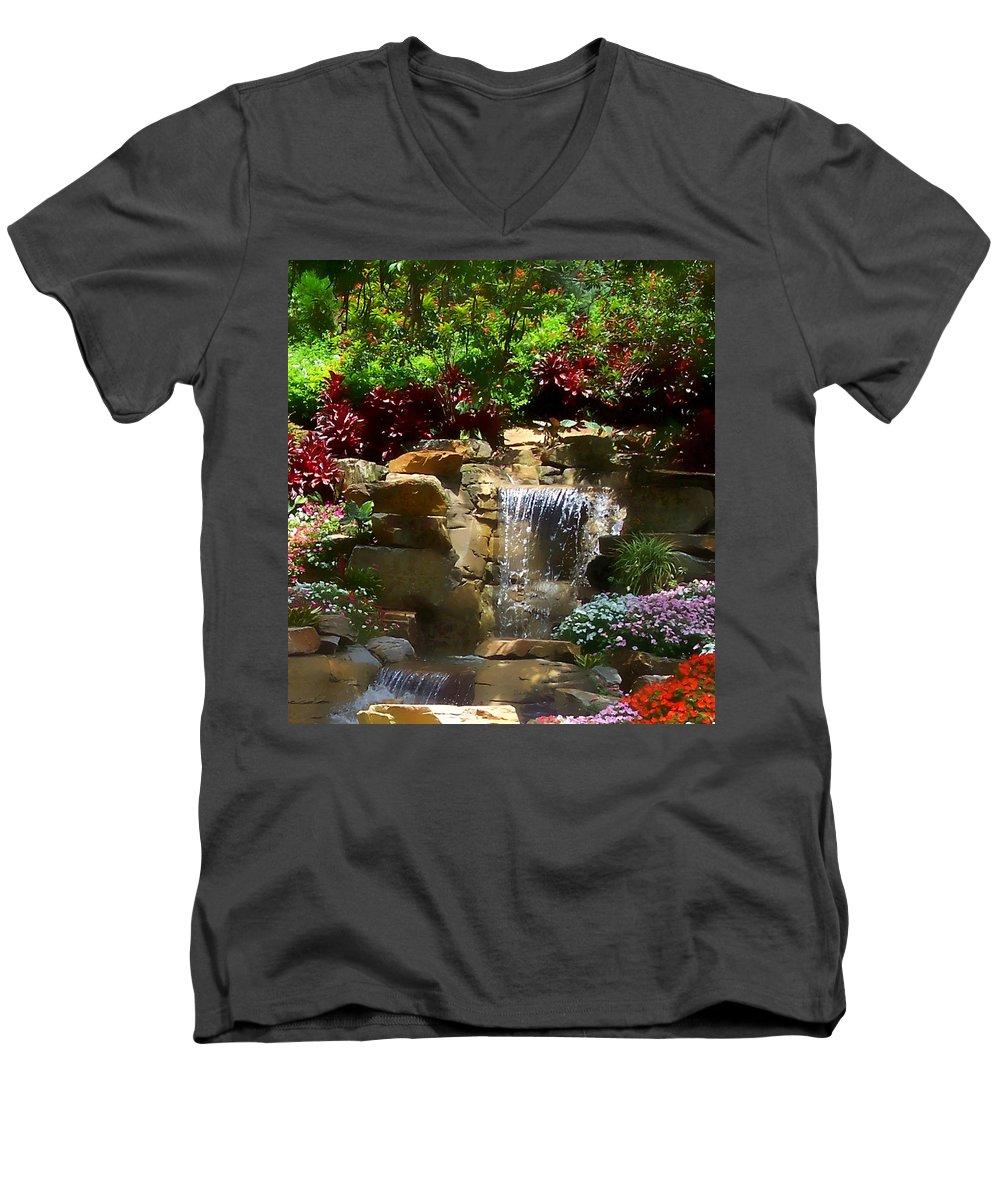 Garden Men's V-Neck T-Shirt featuring the photograph Garden Waterfalls by Pharris Art