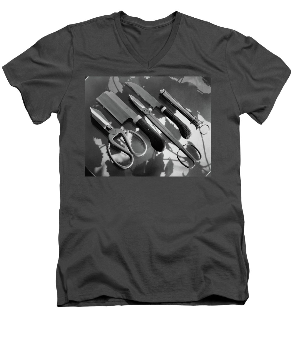 Garden Men's V-Neck T-Shirt featuring the photograph Gardening Tools by Dana B. Merrill