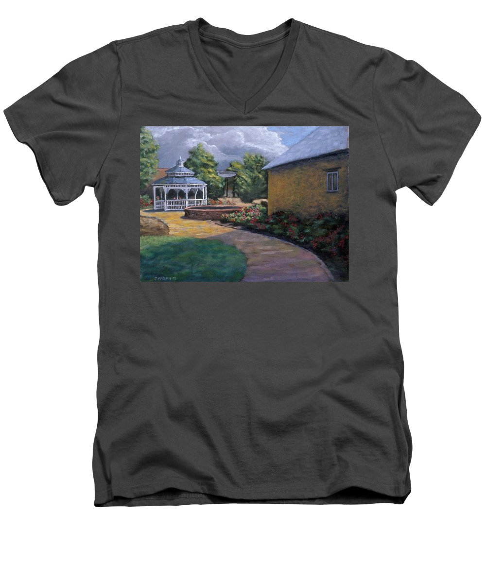 Potter Men's V-Neck T-Shirt featuring the painting Gazebo In Potter Nebraska by Jerry McElroy
